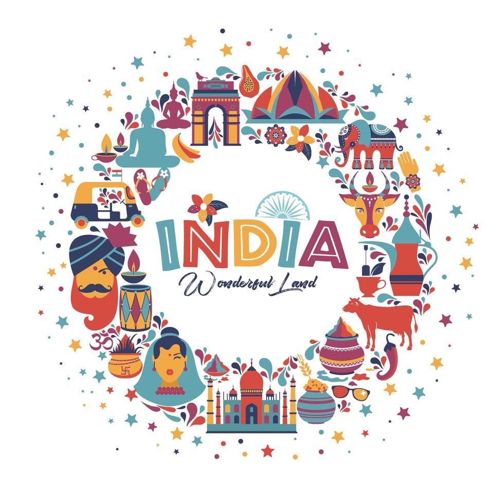 conjunto de arquitetura indiana e tradições asiáticas vetor
