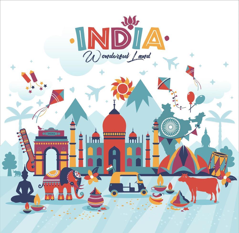 travel india panorama background vetor