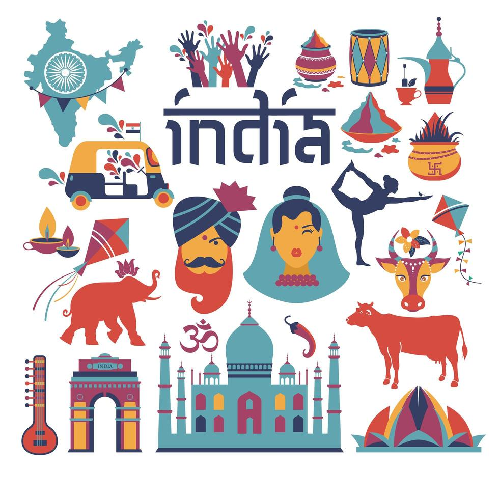 arquitetura indiana, tradições asiáticas, ícones e símbolos vetor
