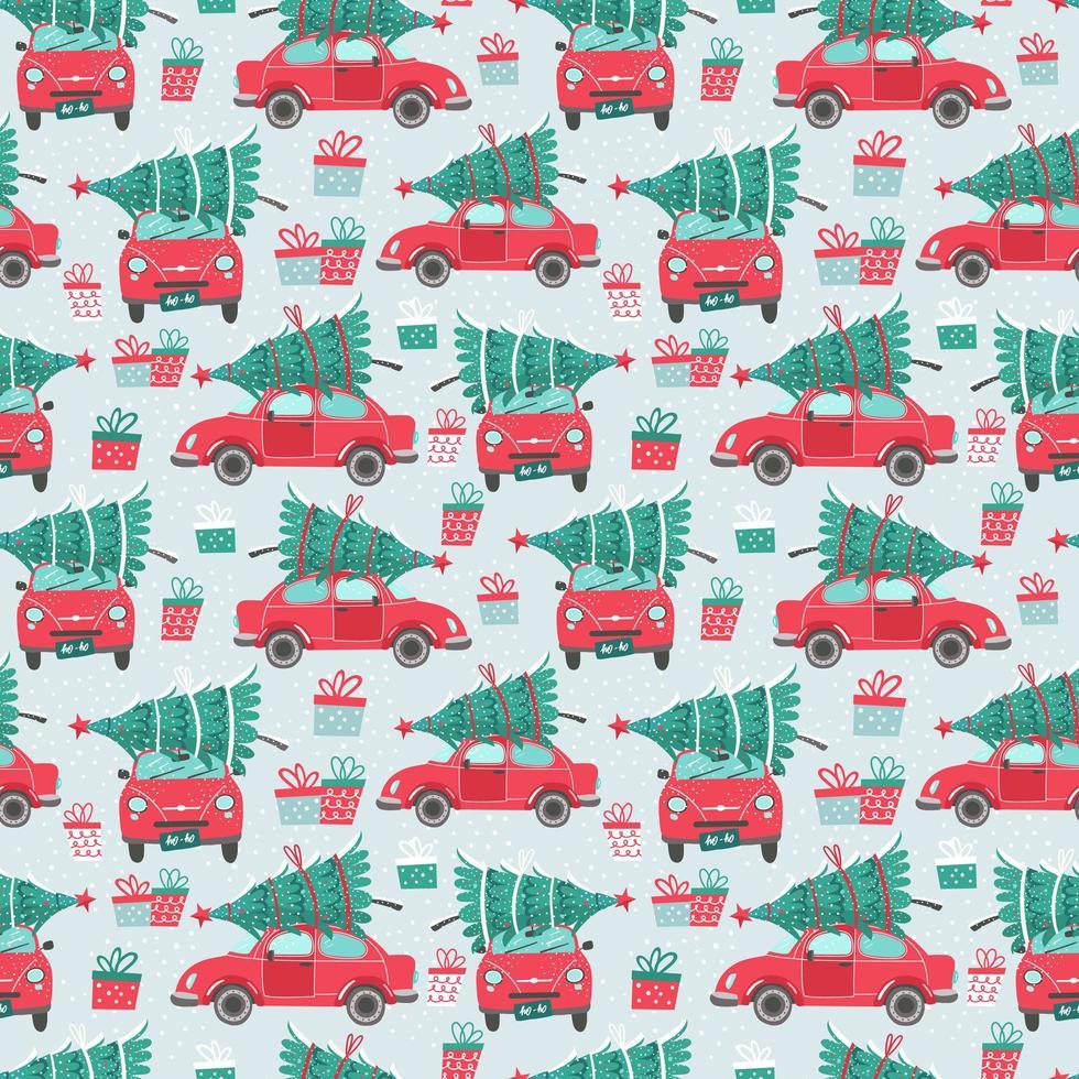 padrão sem emenda com carros vermelhos e árvores de natal vetor