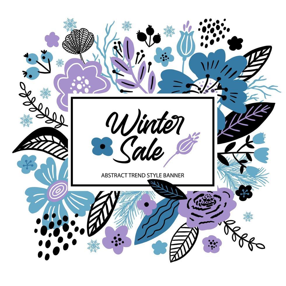 fundo floral venda de inverno vetor