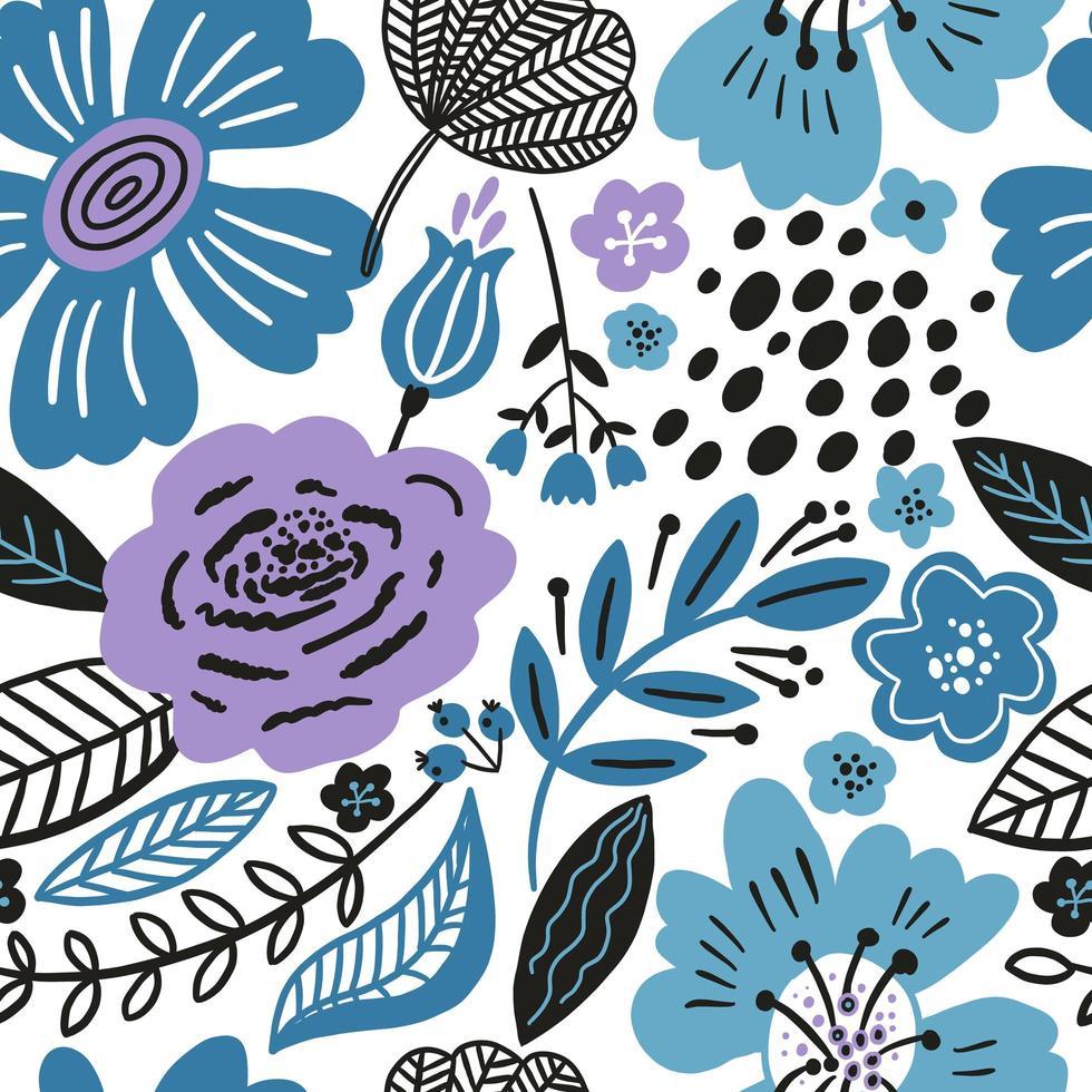 padrão floral sem costura com cores de inverno vetor