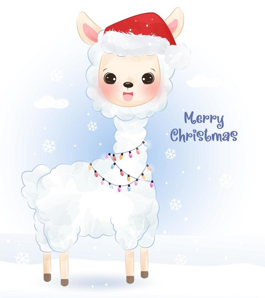 cartão de Natal com uma linda alpaca vetor