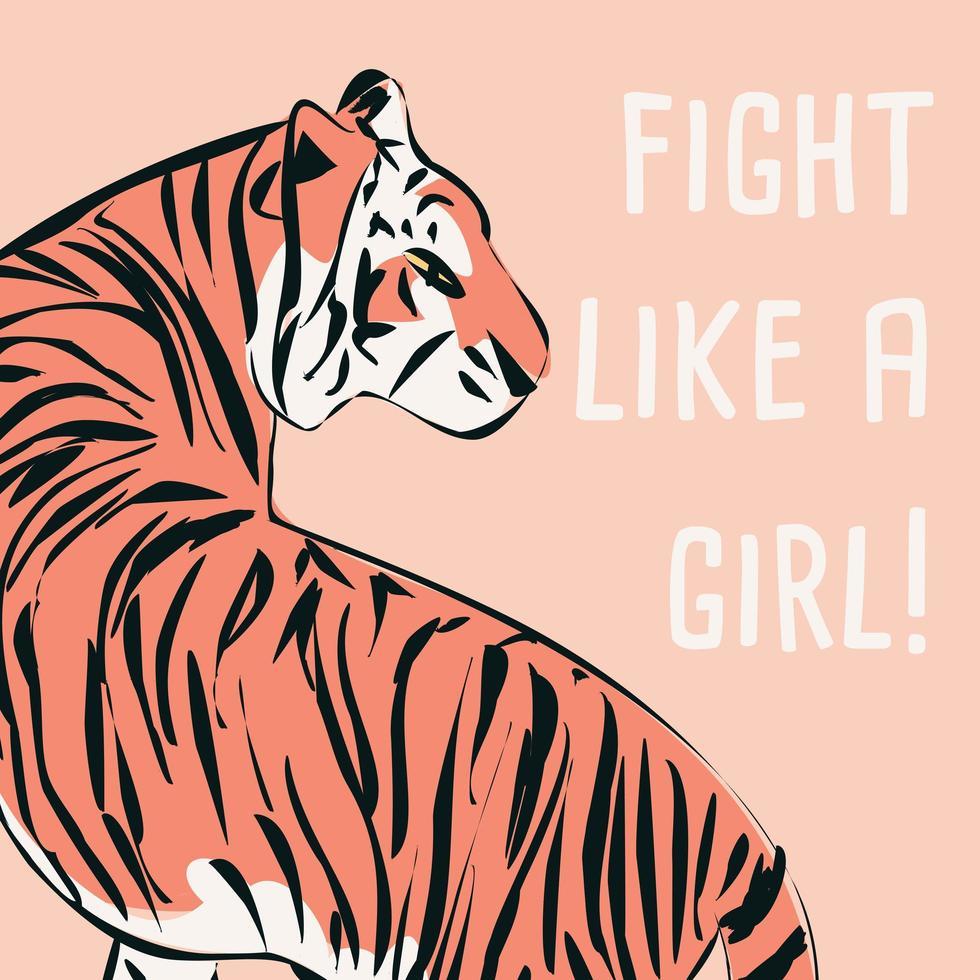 tigre desenhado à mão com frase e mensagem feministas vetor