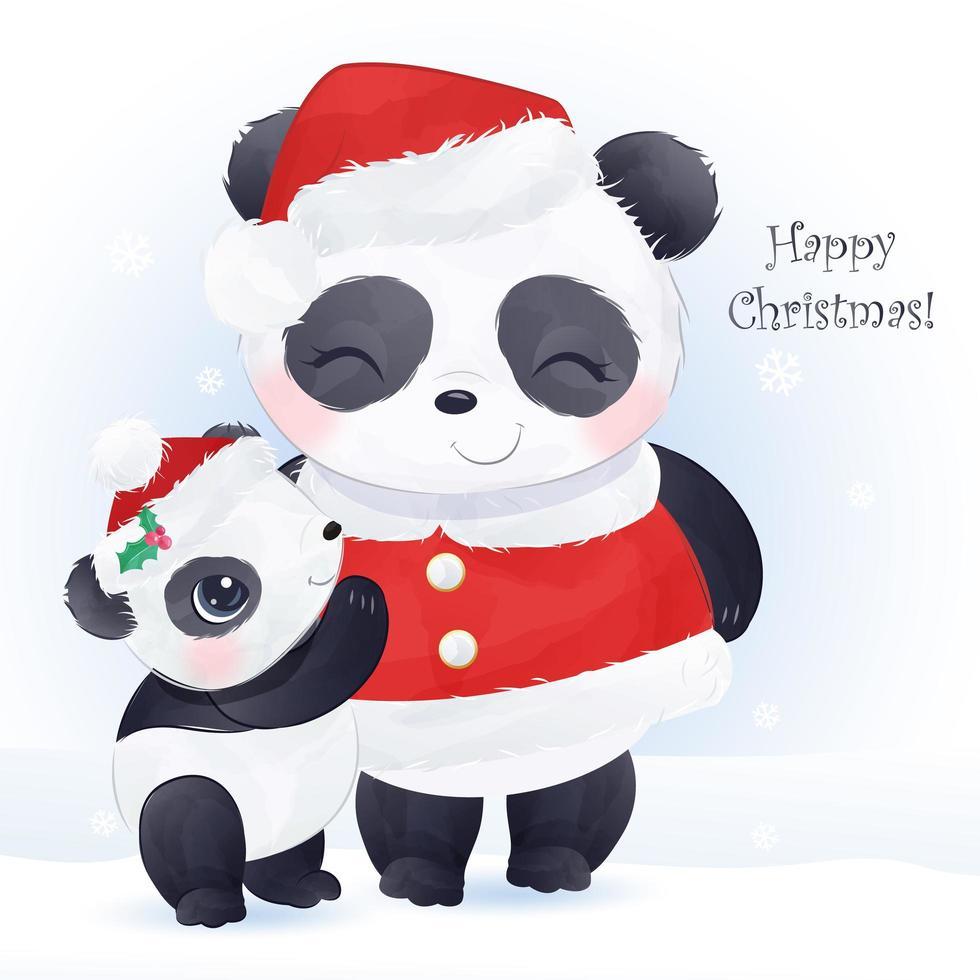 cartão de Natal com a linda mamãe e o bebê panda vetor