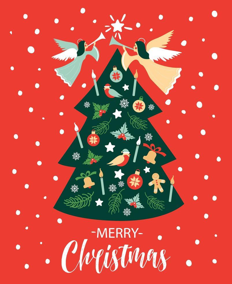 cartão de natal com anjo e árvore de natal vetor