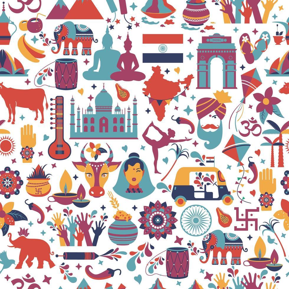 símbolos tradicionais da Índia padrão sem emenda vetor