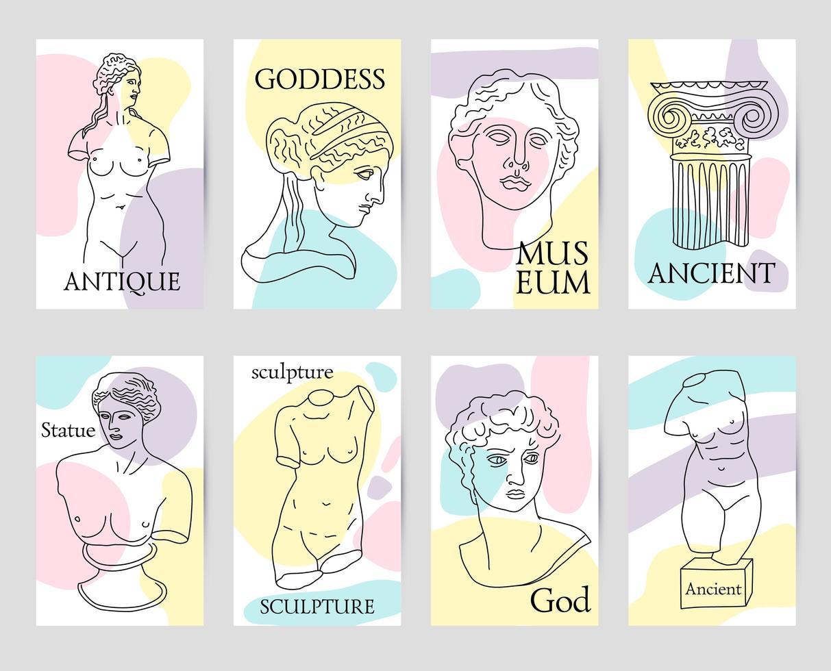 Grécia e Roma antigas conjunto de 8 cartas vetor