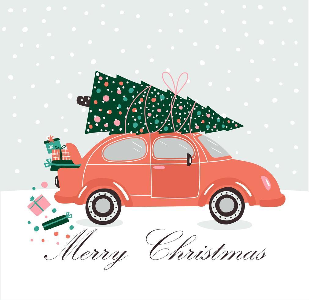 carro rosa, presentes de natal e árvore vetor