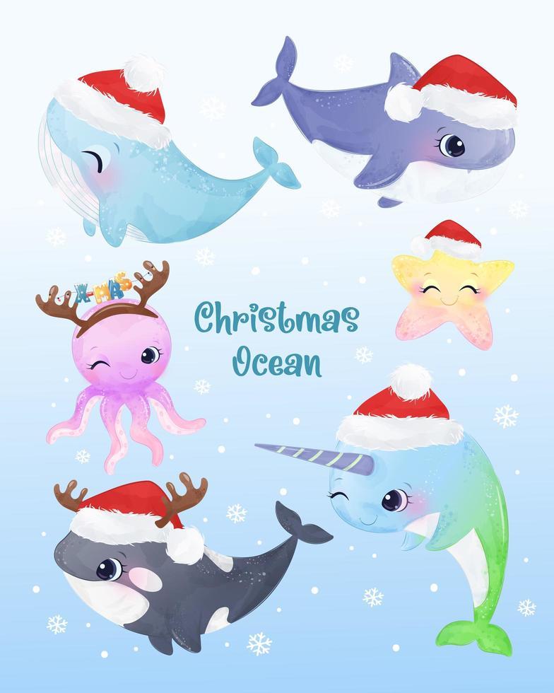 criaturas do oceano fofas para decoração de elementos de natal vetor
