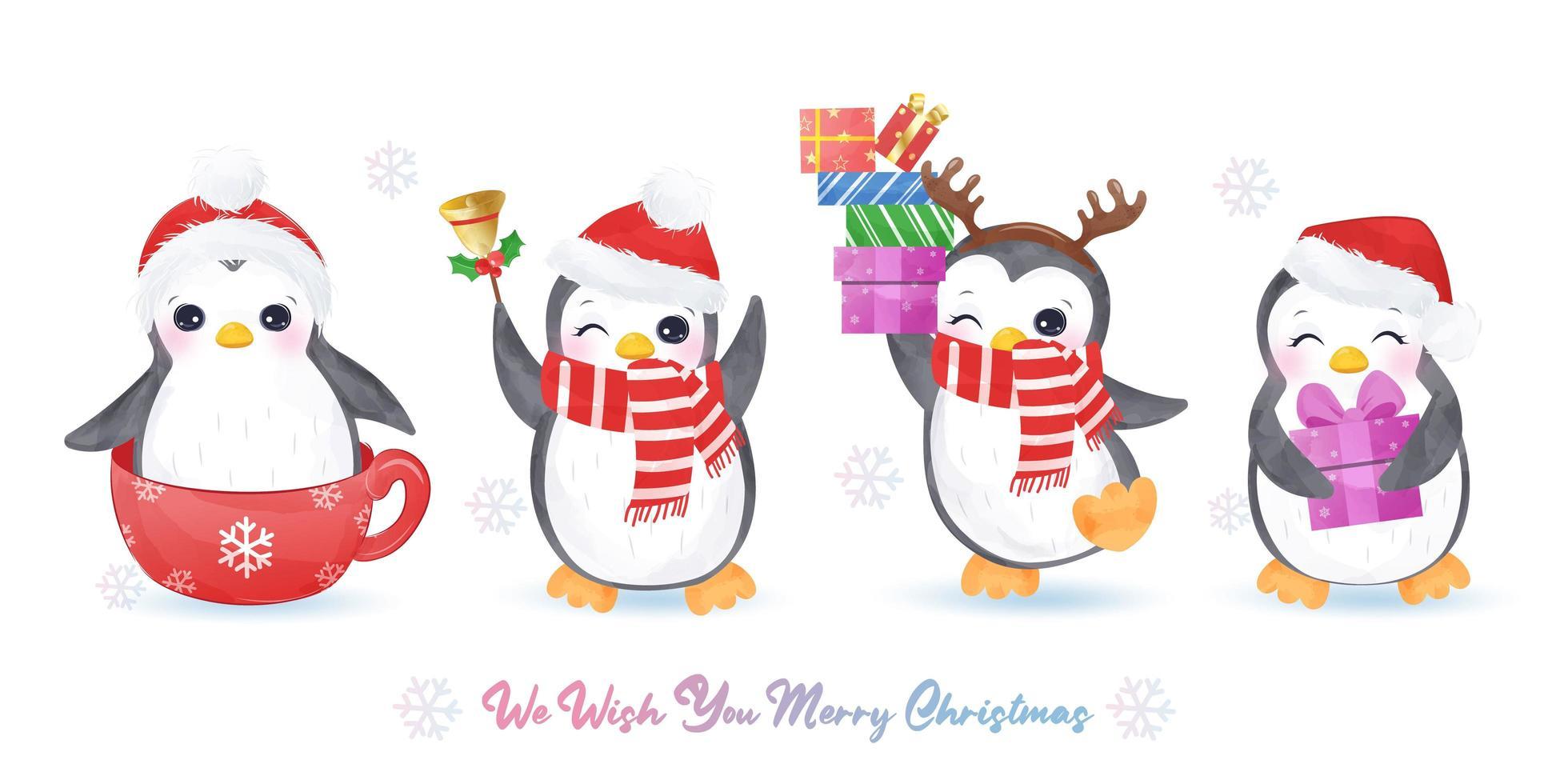 coleção de pinguins fofos para decoração de natal vetor
