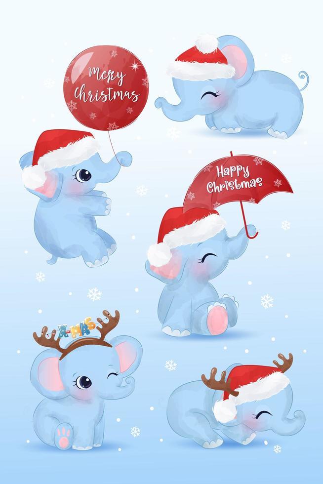 elementos bebê elefante fofo para decoração de natal vetor