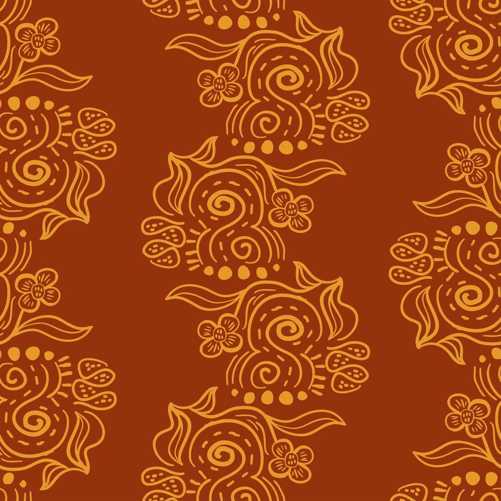 padrão sem emenda de ornamentos de batik. vetor