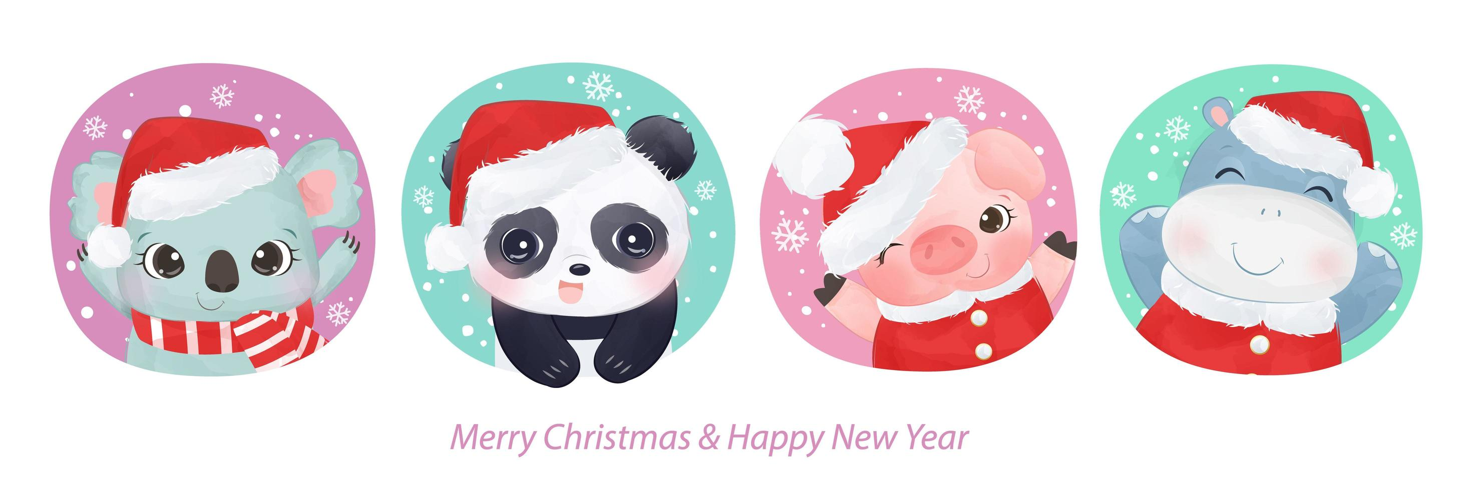 cartão de natal com animais adoráveis vetor