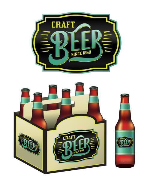 garrafas de cerveja artesanal vetor