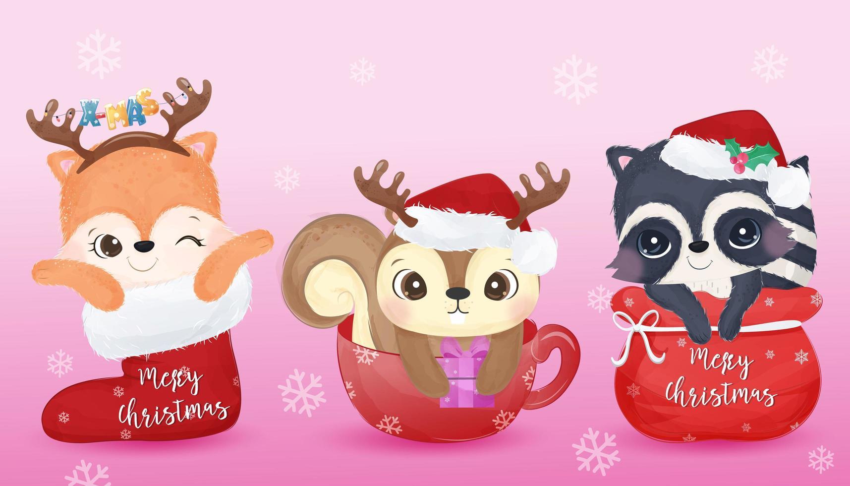 animais fofos para decoração de natal vetor