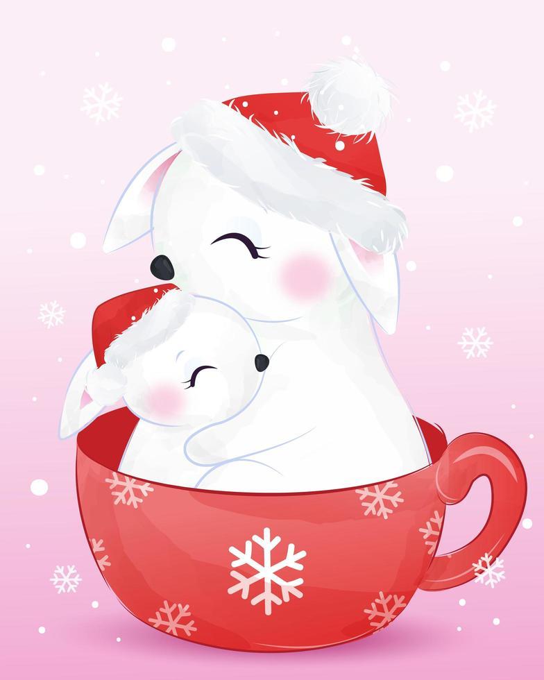 cartão de Natal com a linda mamãe e coelhinho vetor