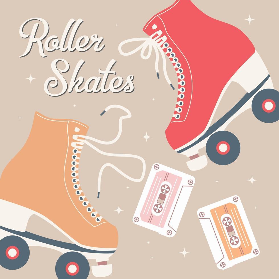 mão ilustrações desenhadas com patins retrô vetor