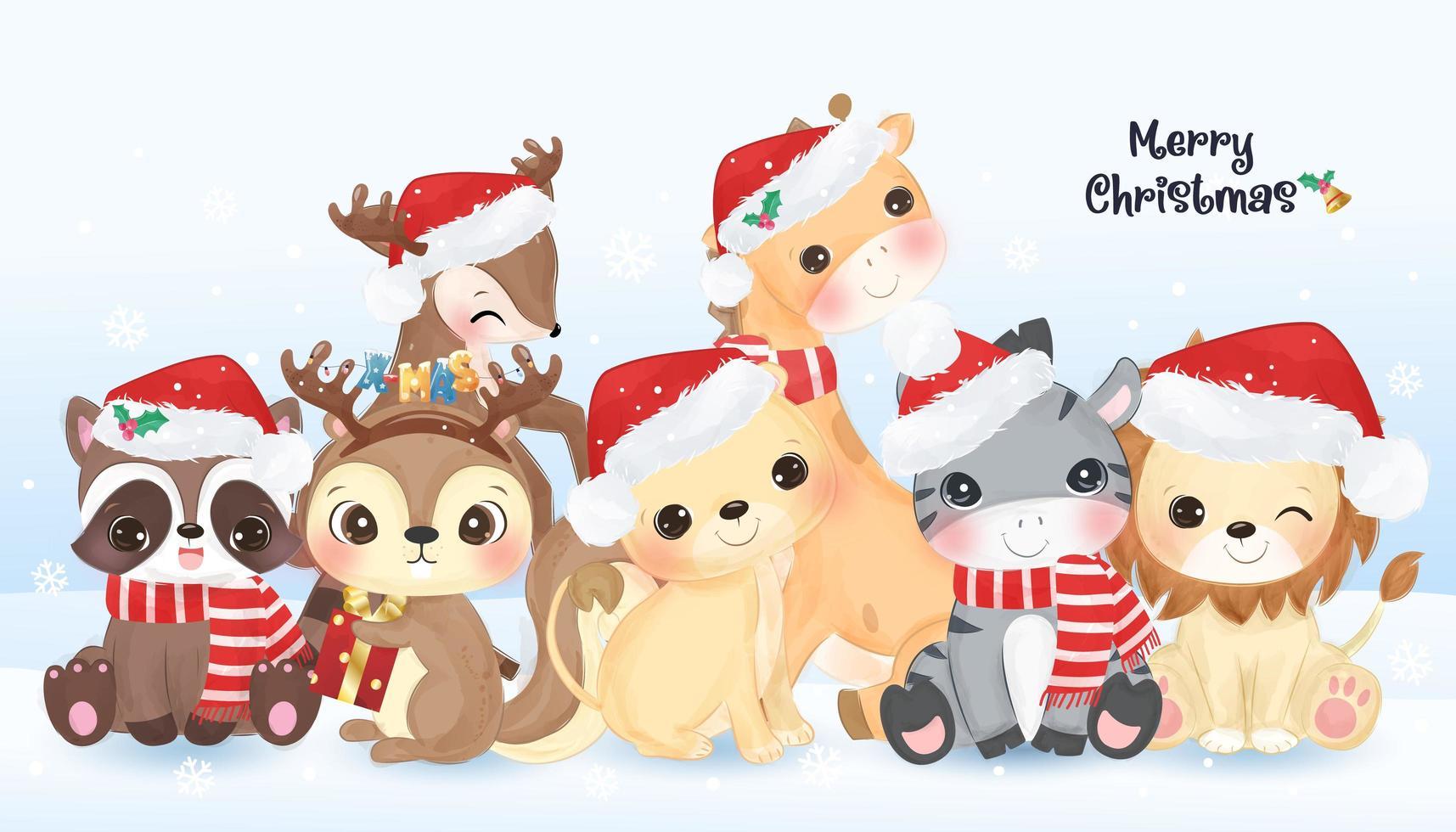 cartão de natal com animais fofos vetor