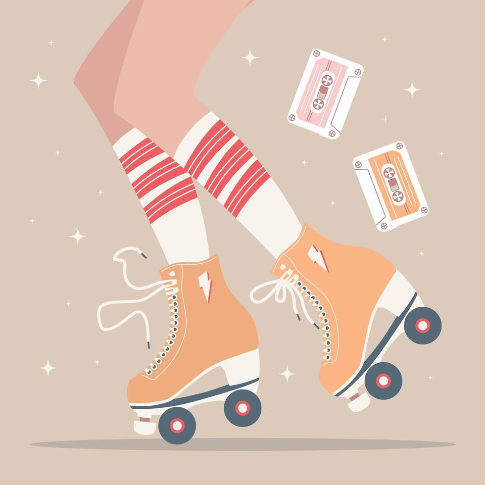 ilustração desenhada à mão com pernas e patins vetor