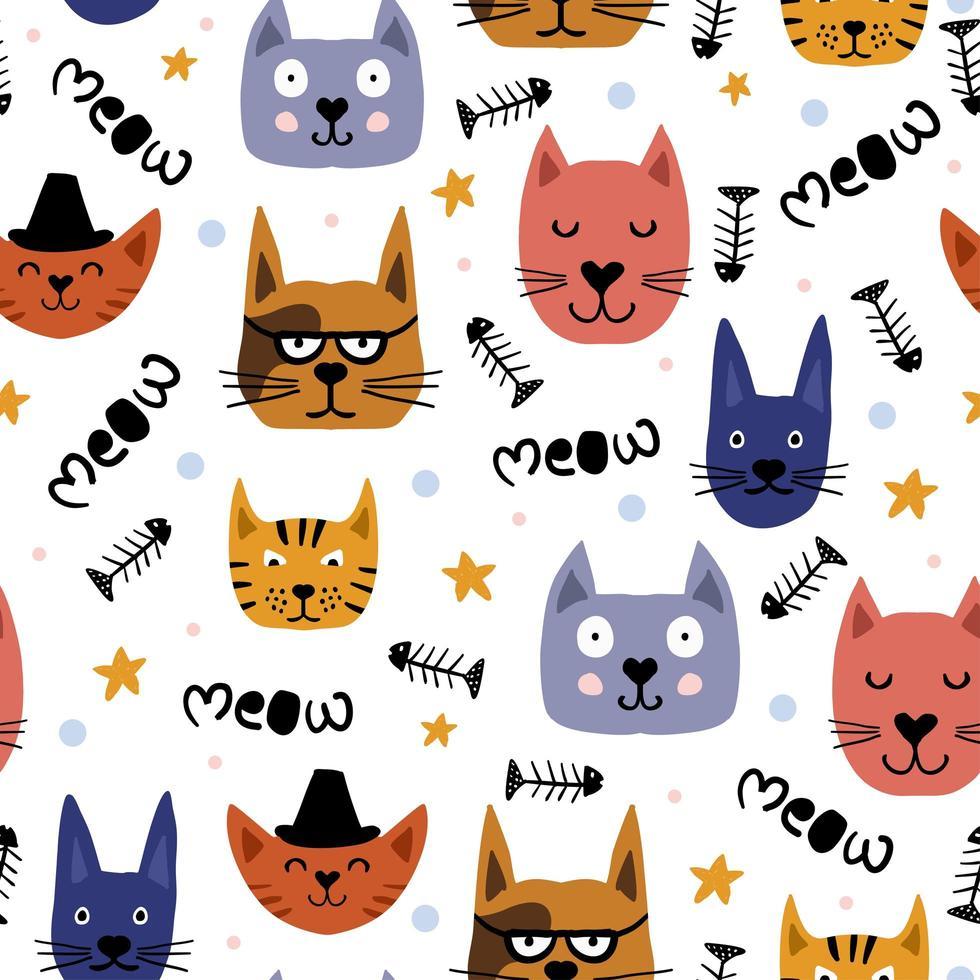desenho infantil de gatos bonitos enfrenta padrão sem emenda. vetor