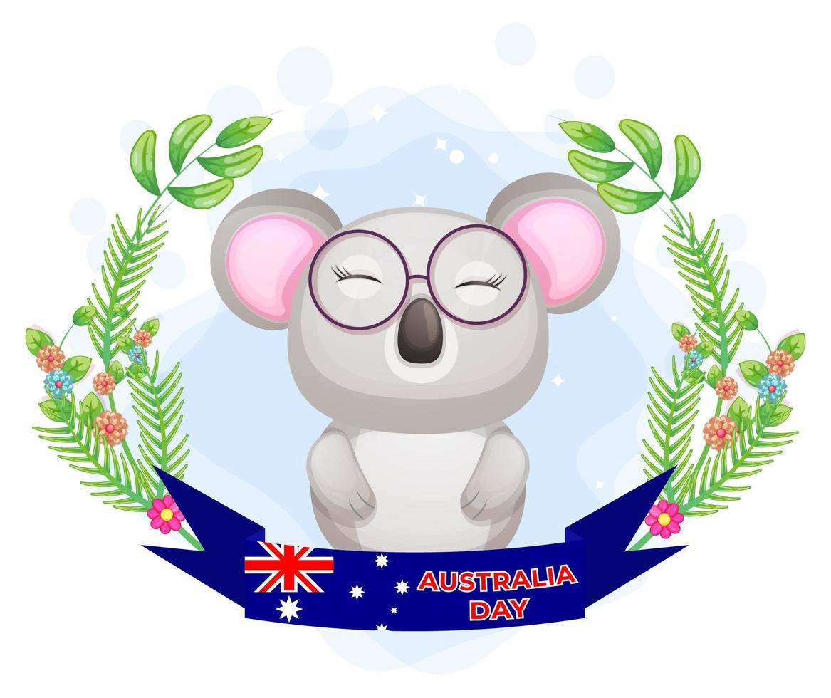 Coala fofo com guirlanda floral e banner do dia da Austrália vetor