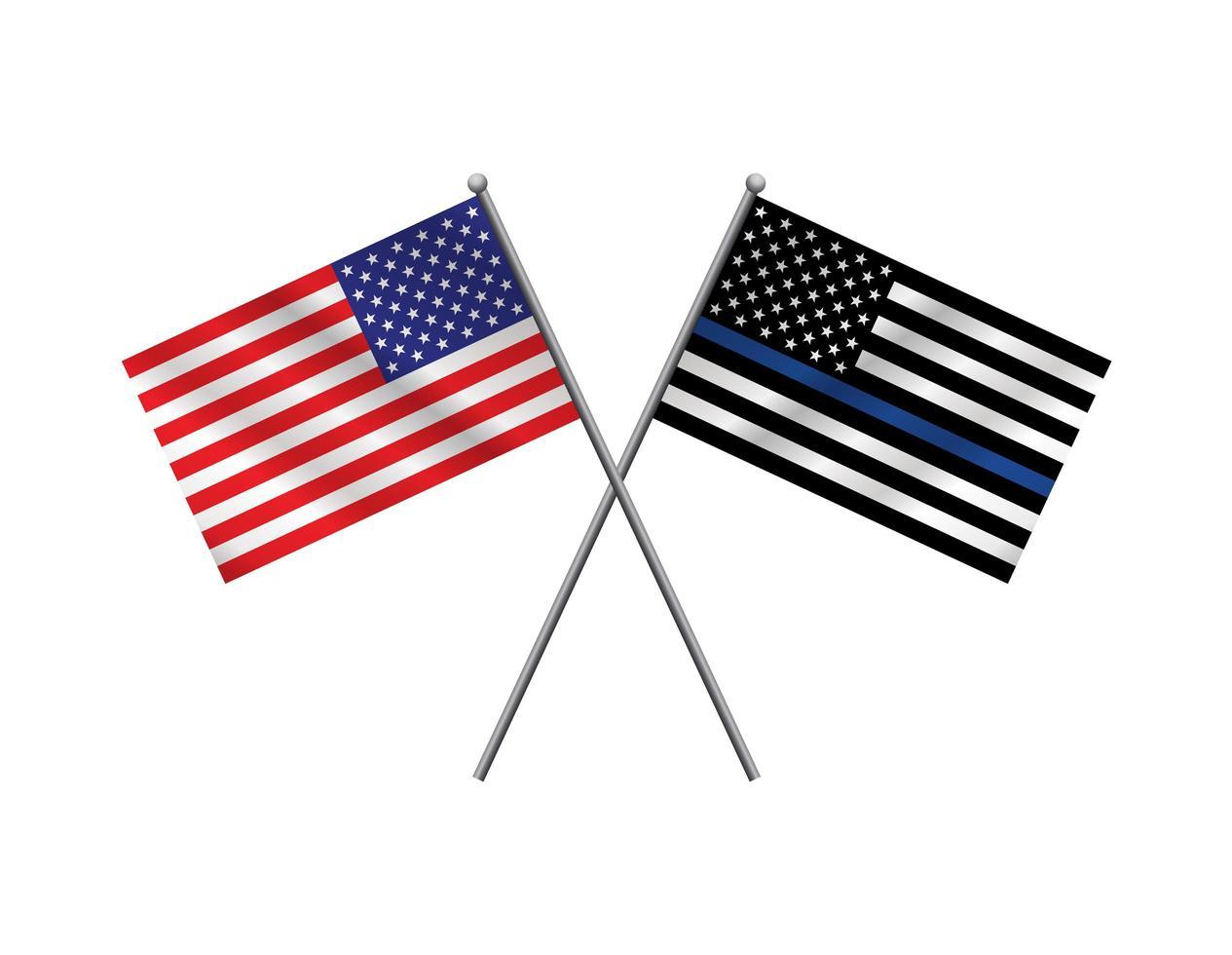 bandeira americana e bandeira de apoio policial vetor
