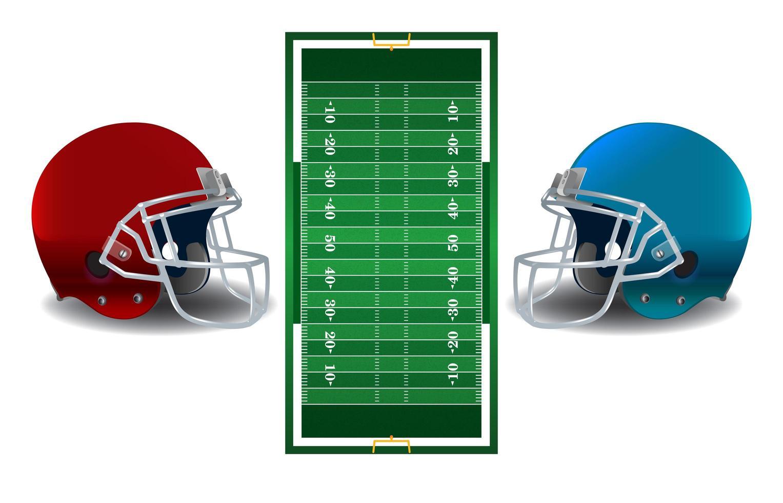 capacetes de futebol americano e ilustração de campo vetor