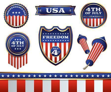 Emblemas e elementos de 4 de julho vetor