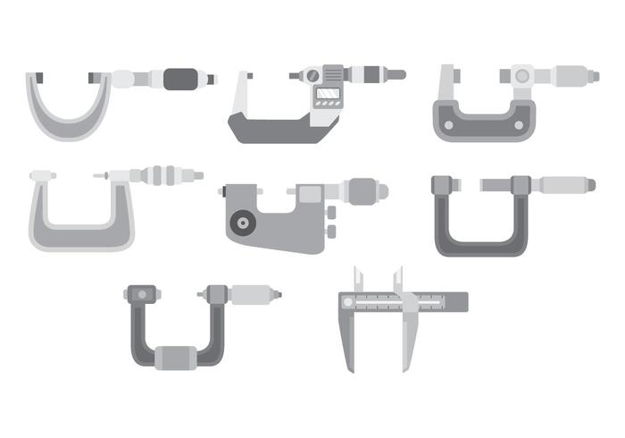 Conjunto de ícones Micrometer vetor