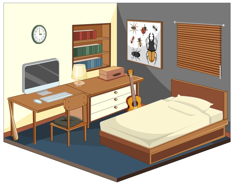 quarto com móveis isométricos vetor