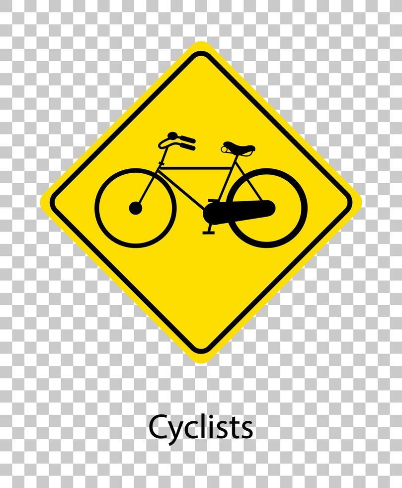 sinal de alerta de tráfego amarelo em fundo transparente vetor