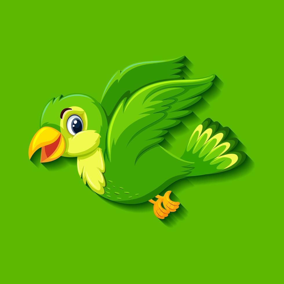 personagem de desenho animado de pássaro verde fofo vetor