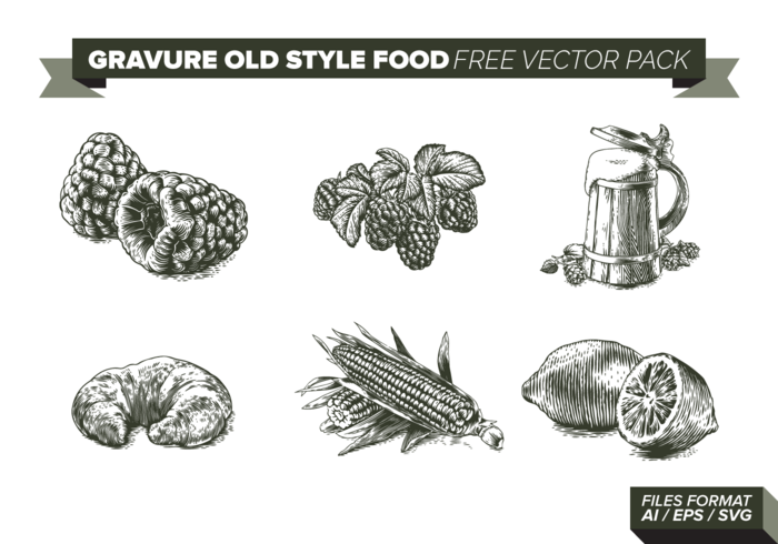 Gravure old style food free vector pack