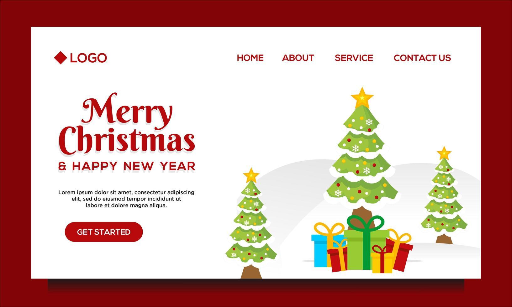 página inicial de feliz natal e feliz ano novo vetor