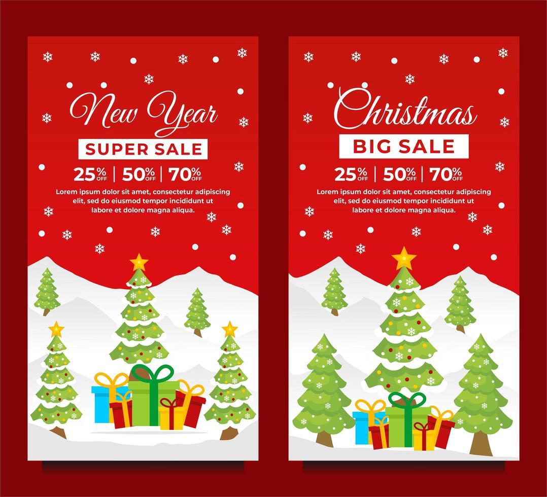 modelos de banner de natal e ano novo com cena de inverno vetor