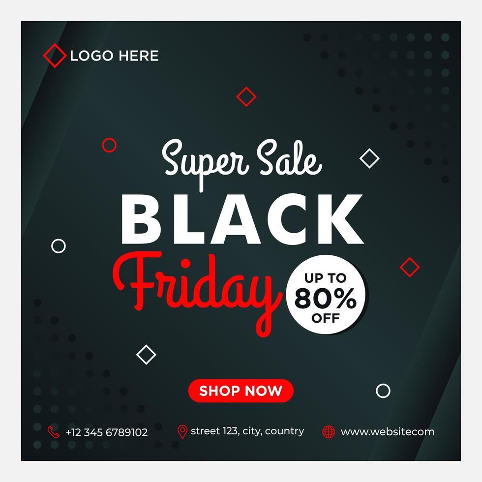 preto, branco, vermelho preto modelo de mídia social venda sexta-feira vetor