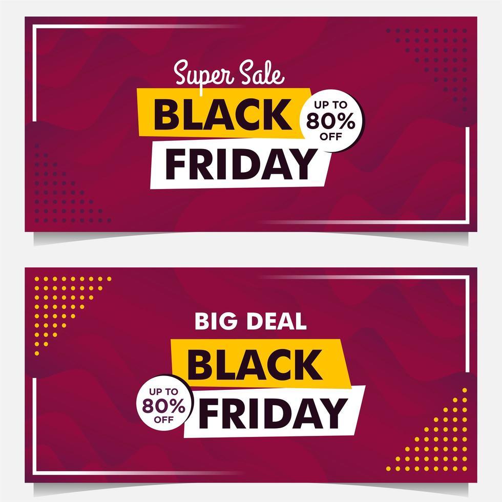 modelos de banner de venda sexta-feira negra em estilo gradiente roxo vetor
