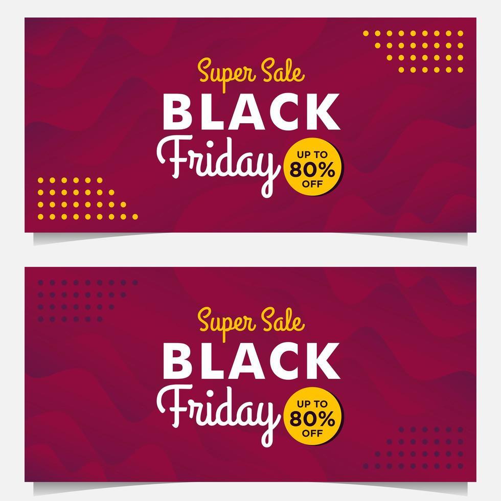 modelos de banner de venda sexta-feira negra com estilo gradiente roxo vetor