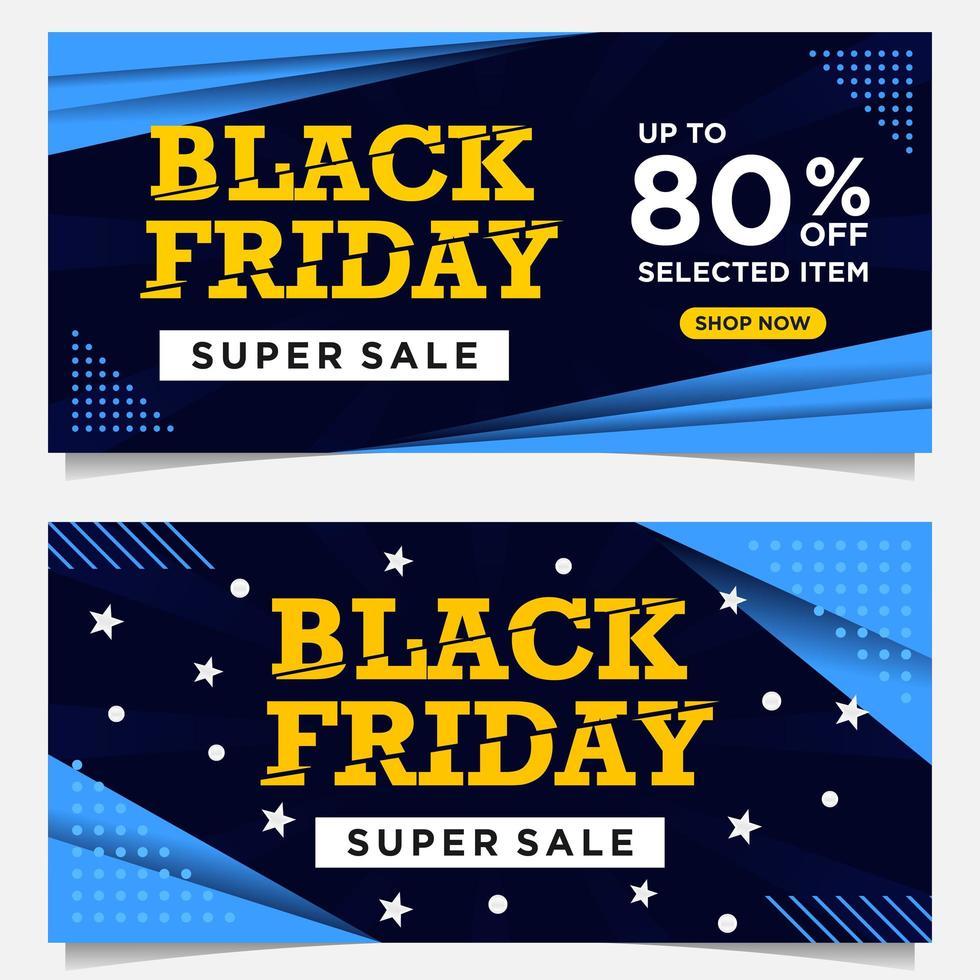 banners pretos do evento de sexta-feira em azul, branco e amarelo vetor