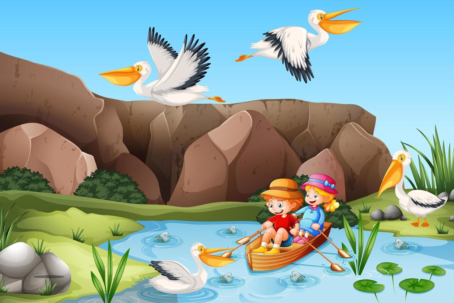 crianças remam o barco na cena da floresta do riacho vetor