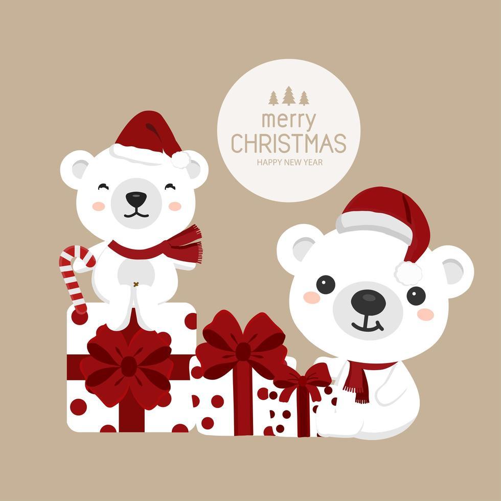 ursos de natal com chapéus de papai noel com presentes vetor
