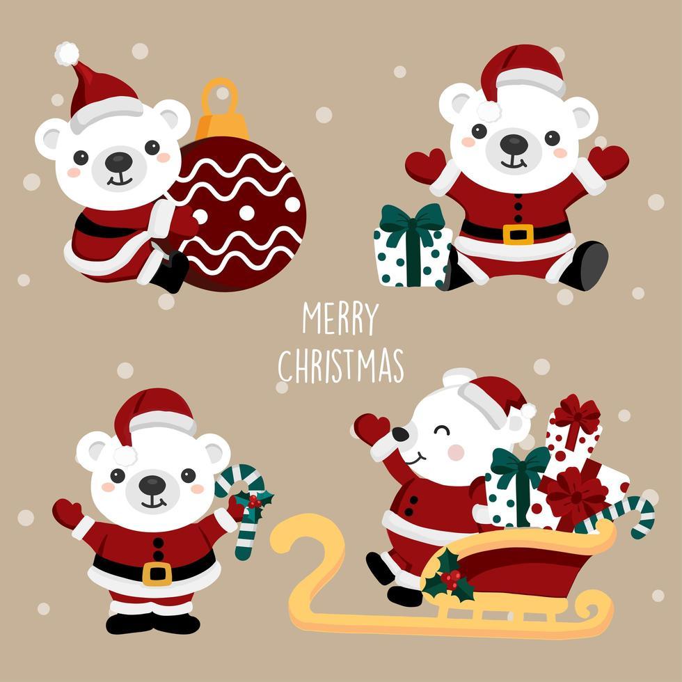 urso polar em trajes de papai noel conjunto de natal vetor