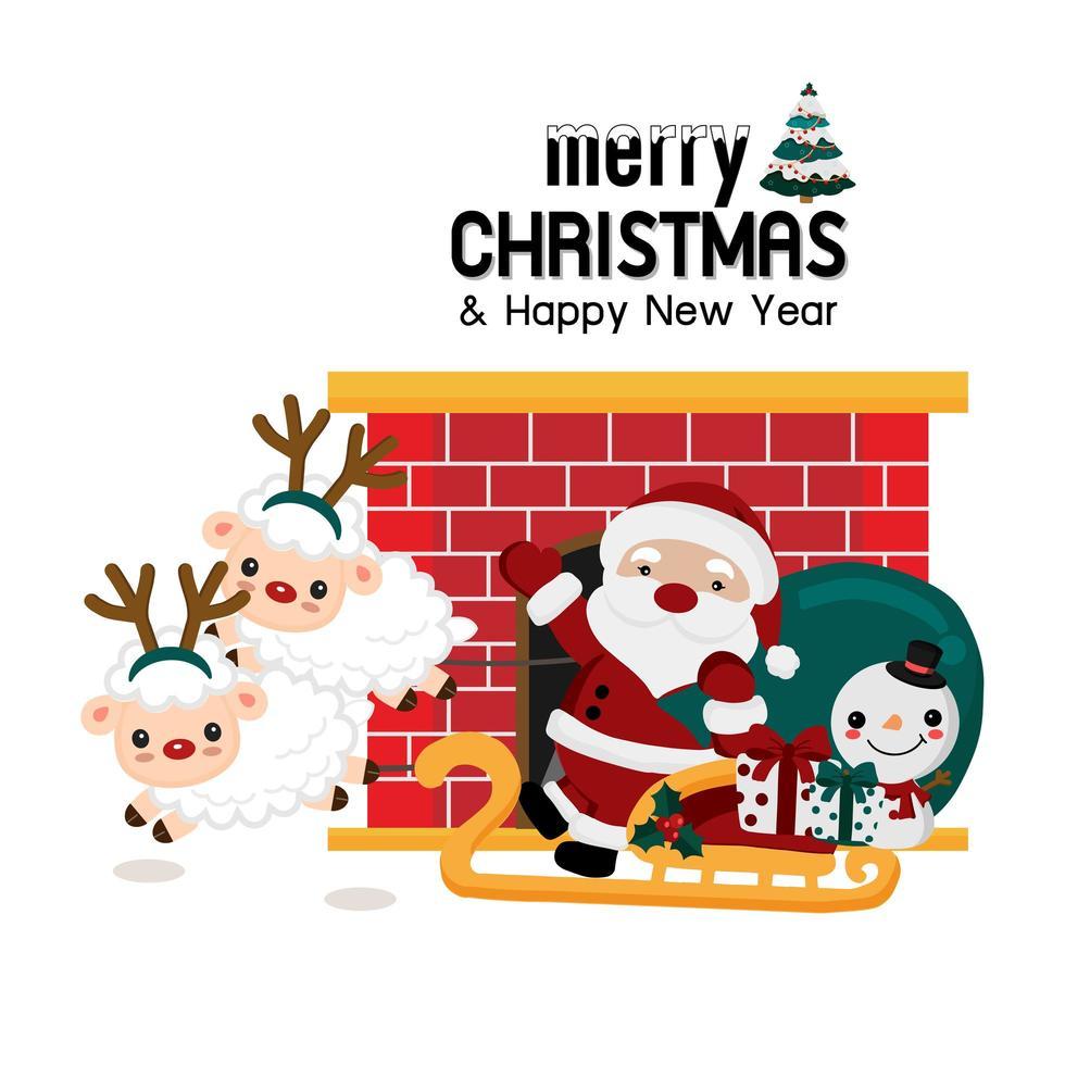 Papai Noel e amigos com trenó e lareira vetor