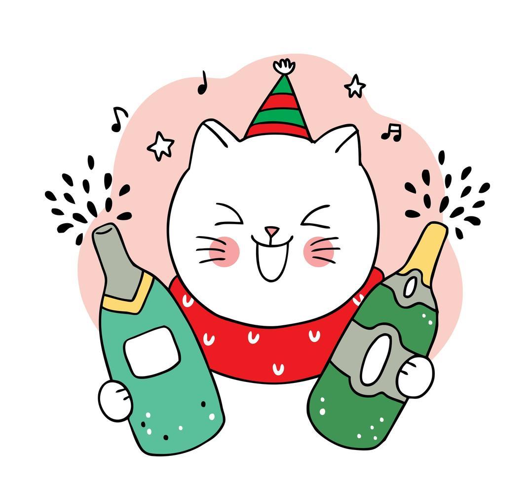 mão desenhada gato natal e garrafas de champanhe vetor