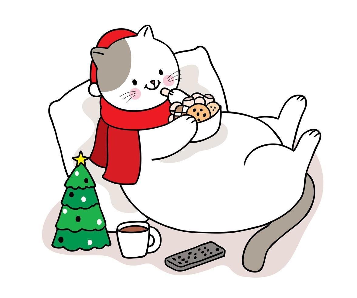 mão desenhada gato de natal comendo doces vetor