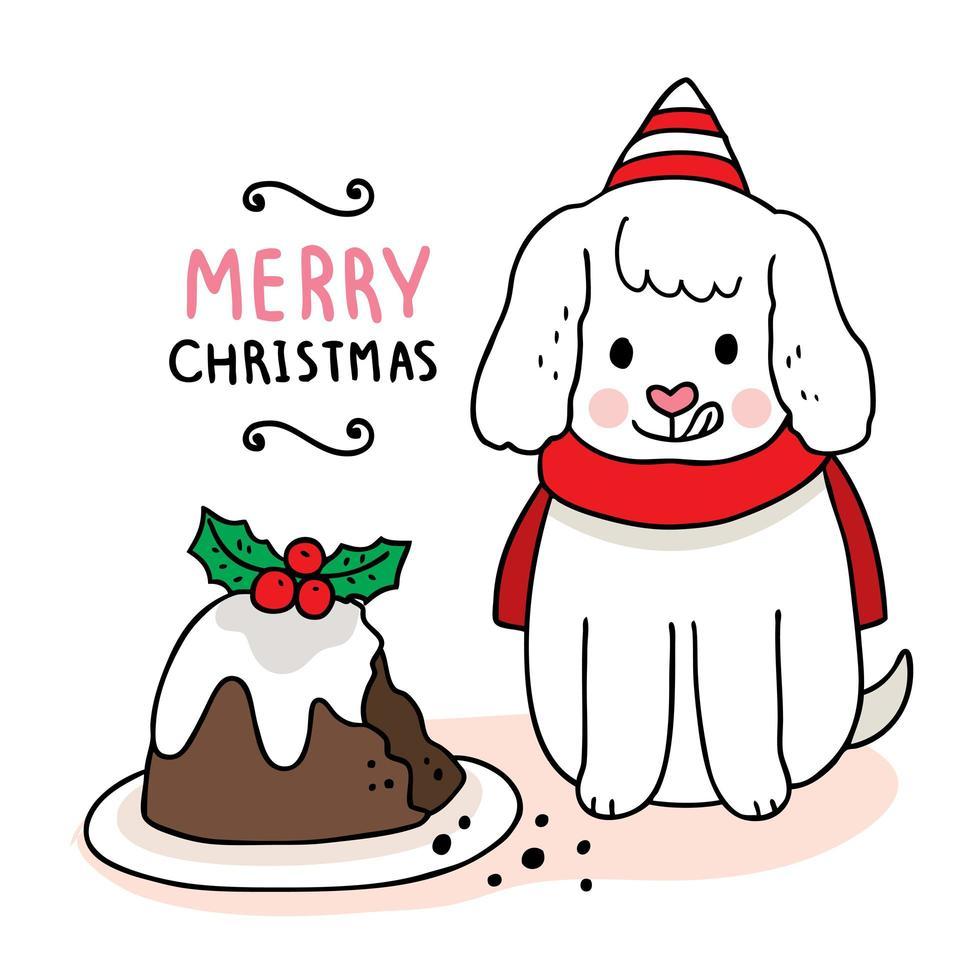 mão desenhada cachorro de natal comendo bolo vetor