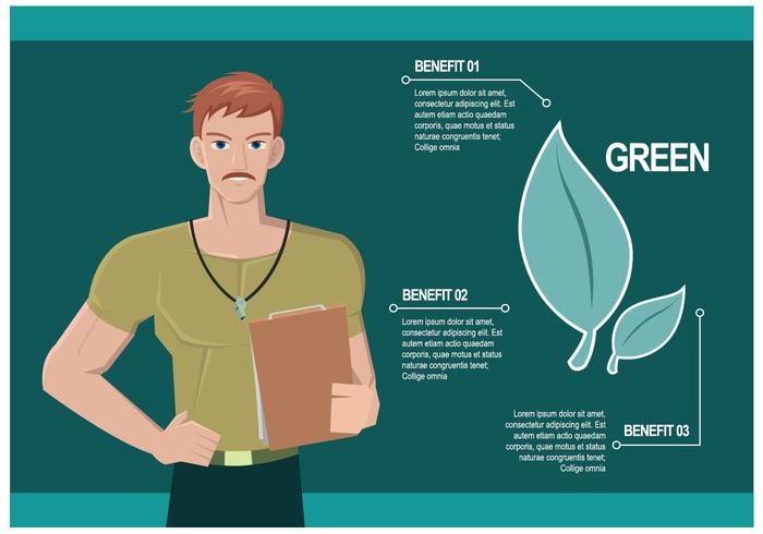 Personal Trainer Explicando benefícios de comer o vetor verde