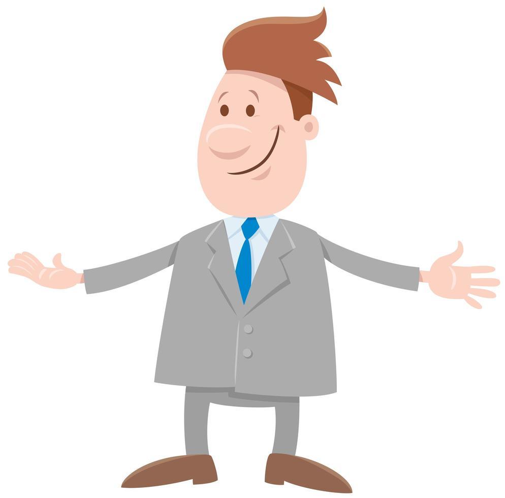 personagem de desenho animado de homem engraçado ou empresário vetor