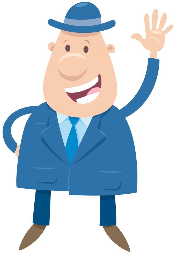 homem feliz ou personagem de desenho animado de empresário vetor